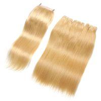 rus yığını insan saçı toptan satış-Avrupa İnsan Saç Yüksek Kalite Ile Rus Düz Saç Demetleri 3 Adet Dantel Kapatma # 613 Platin Sarışın Saç Örgüleri Ile Dantel Kapatma
