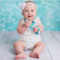 Wholesale Wholesale Lace Petti Romper Sale - 10%off 2015 hot sale!2pcs dress+2pcs hairband,Cute Petti Baby Girl Lace Romper with Straps and Ribbon Bow Jumpsuit Infant,4pcs lot DF