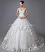 Wholesale Portrait Printed Wedding Dress - Good Quality 2016 Sheer Wedding Dresses Portrait Sweetheart Beads Crystal Lace Up Organza Applique Ball Gowns Chapel Train