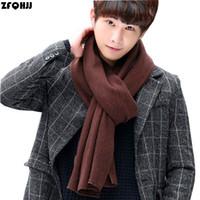 Wholesale Large Knit Scarf - Wholesale- ZFQHJJ 2017 New Autumn Winter Mens Knit Scarf Cotton Acrylic Large Long Fashion Solid Warm Scarves Casual Shawl Wraps 200x30cm