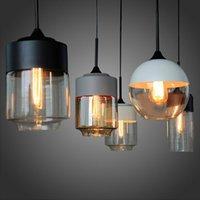 cam edison kolye toptan satış-Yeni Amerikan endüstriyel loft vintage kolye ışıkları siyah beyaz demir edison cam retro loft vintage kolye ışıkları lamba