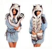 Wholesale Scarfs For Women Hood - Wholesale-Animal Hat Cap 2015 Winter Hats for Women Fashion Animal Hood Scarf Hat Glove Set Faux Fur Hat Russian Furry Plush