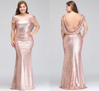 uzun resmi gül nedime elbiseleri toptan satış-Artı Boyutu Gül Altın Gelinlik Modelleri Uzun Köpüklü 2018 Yeni Kadın Zarif Mermaid Payetli Akşam Balo Parti Elbisesi Ünlü Resmi Elbise