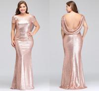 ouro lantejoulas mais vestido tamanho venda por atacado-Plus Size Rosa de Ouro Da Dama de Honra Vestidos Longos Espumantes 2018 Novas Mulheres Elegantes Sereia Lantejoulas Noite Prom Vestido de Festa Vestido Formal Celebridade