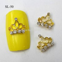 Wholesale Metal Nail Studs - Wholesale-10pcs 3D Gold Crown Charm Decorations Glitter Alloy Metal Jewelry Rhinestones for Nail Art Studs Tools SL-50