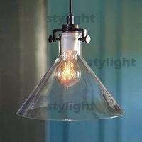 Wholesale Transparent Filament - Modern Meridian Transparent Glass Chandelier Edison Light Bulb Funnel Pendant Lamp 1 head RH CLEAR GLASS FUNNEL FILAMENT PENDANT LIGHTING