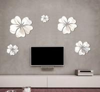 mural arts flor venda por atacado-Nova Moda 5 pcs Flor Espelho Wall Art Mural Decalque DIY Decoração de Casa Decalque Hibiscus Espelho Decoração Da Parede