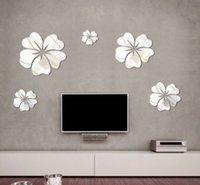 diy çiçek aynası toptan satış-Yeni Moda 5 adet Çiçek Ayna Duvar Sanat Mural Decal Sticker DIY Ev Dekorasyon Hibiscus Çıkartması Ayna Duvar Dekor
