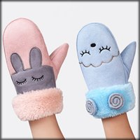 Wholesale Embroidery Designs For Kids - 34 Designs Kids Gloves Girls Boys Winter Warm Gloves for 4~8 Children Suede Fur Ornament Embroidery Cartoon Style