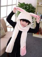 Wholesale Panda Scarf Set - Animal Scarf Hat Glove Set For Children Rabbit Panda Style Winter Hat Girls Hoods scarf Free Shipping