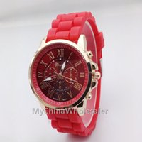 Wholesale Geneva Watches Silicone Band - High Quality New Geneva Unisex Watch Quartz Relogio Roman Numerals Gold Band Analog Wrist Watch with Colorful Watch Dial