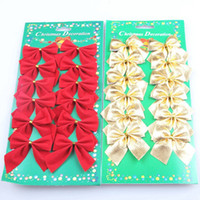 Wholesale Little Trees Wholesale - 2018 new Christmas decorations delicate little bow Christmas tree pendant Christmas decorations 12 pieces free shipping