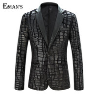 Wholesale Mens Leather Sleeves - Mens Pu Leather Fur Blazer Plus Size M-4XL Fashion Designer Black Party Men Slim Fit Blazer Homme Outdoor Coat C1979