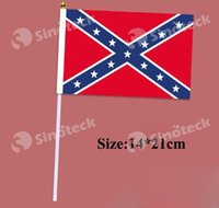 Wholesale 14 cm Rebel Flag Hand Single Civil War Confederate Battle National Polyester Small FlagTop Quality Free DHL UPS Factory Price