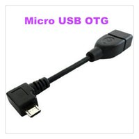 Wholesale Micro Usb Angle Adapter - Angled Micro USB OTG Host Cable Adapter For Samsung Galaxy S4 Note 2 8.0 S2 S3 Xoom i9100 MQ50