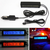 relógios de termómetro para carro venda por atacado-Digital Auto Car 3em1 Digital LCD Clock In / Out Tela Car Termômetro Da Bateria Voltage Monitor de Temperatura Relógio Medidor 800847