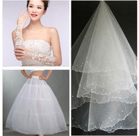 Wholesale White Ball Gown Gloves - Shanghai Story 3 Pieces Set Wedding Bridal Gown Dress Petticoat Crinoline Wedding Accessories (Petticoats + gloves +Veil) hot sale