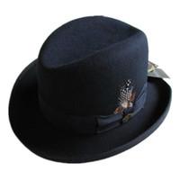 Wholesale black wool felt - Wholesale-Traditional Wool Felt Homburg Fedora Hat   Godfather Hat