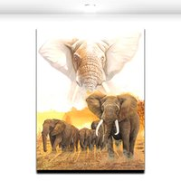 Wholesale Decorative Group Oil Painting - African Giant wild Elephant Group Oil Paint Canvas Art House or Office Decorative Wall Art Painting