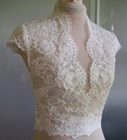 Wholesale High Neck Lace Wedding Jackets - High Quality Ivory Lace Bridal Jacket With Cap Sleeve V-Neck Bolero Custom Made Wrap Bridal Accessories For Wedding Dress