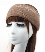 Womens Crochet Inverno Outono Quente Rhinestone Knitting Headbands Hat Solid wide headbands headwrap acessórios de cabelo Ear warmers Hat WHA57