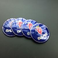 Wholesale High Quality Auto Body - High quality 4pcs 56.5mm aluminum Blue SAAB sticker Emblem Badge Sticker glue sticker auto accessories decoration