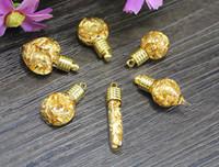 colgante de polvo de oro al por mayor-6MM Clear Glass Vial Pendant With Gold FoilWater Inside, deseando joyas de botellas, Fairy Dust Bottles
