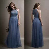 Wholesale Ocean Coral - 2017 Ocean Blue Long Bridesmaid Dresses Sheer Jewel Neck Lace Tulle Formal Bridesmaids Maid Of Honor Wedding Guest Dresses Custom Made