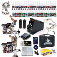 Wholesale usa tattoo ink - Best Tattoo kit 2 Machine Guns 40 Color Inks Power Supply Grip Tip Needles in Box