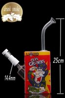 Wholesale Nails Cartoons - Liquid capn crumbs Glass bong Water Pipes 25cm Cartoon Pattern Beaker Bong with 14mm Joint Recycler Oil Rigs Ceramic Nail free shipping