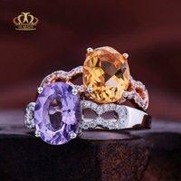 ingrosso anelli di fidanzamento ametista anelli bianchi-Anelli di ametista ovale naturale di alta qualità riempito in oro bianco 18 carati all'ingrosso per l'impegno