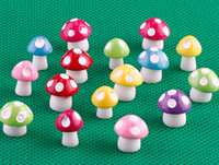 Wholesale Mushroom Garden Decor - 100pcs artificial mini colorful Mushroom fairy garden miniatures gnome moss terrarium decor resin crafts bonsai home decor for DIY Zakka