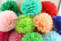 Wholesale Paper Lanterns Holiday Sales - 2017 Hot Sale!50pcs Tissue Paper Pom Poms Paper Lantern Pom Pom Blooms Flower Balls 4 6 8 10 12 14inches Multi-color Options
