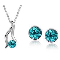 Wholesale Asian Heels - Austrian Crystal Necklace Earrings Sets High-heeled shose Jewelry Set Alloy Zircon Earrings Set Fashion Females Jewelry Set 1219