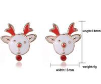 Wholesale 4g Earrings - Christmas Earrings Stud Korea Cute Animal Series Christmas Gift 14mm 4g Alloy Enamel Earrings 30 pairs free shipping