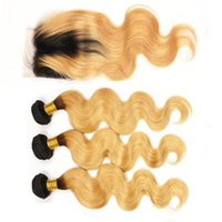 Indian Honey Blonde Ombre Hair teje con cierre de encaje 2 tonos 1B 27 Strawberry Blonde Body Wave Ombre Hair Bundles con cierre