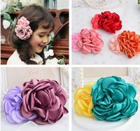 Wholesale Multi Layer Flower Headband - Double Flower clips multi layers flower hair clips hairpin two flower hair accessories for girls Korean hair accessories Barrettes clips