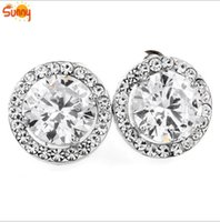 Wholesale 24k Gold Earrings For Women - New Fashion Luxury wedding Jewellery top zircon stud earrings 24K White gold filled earrings for women