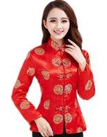 ingrosso maniche collane cinesi per le donne-Top Story cinese tradizionale a manica lunga con ricamo tradizionale a ricamo drago di Shanghai per le donne