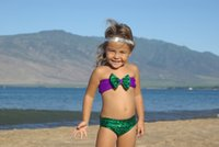 Wholesale Mermaid Swimsuit For Children - Sequins Mermaid Child Kids Baby Girls Bowknot Bikini Swimsuit Swimwear Set for 2~7T