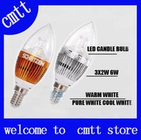 Wholesale E12 Led Bulb 6w Dimmable - X30 DHL FREE SHIPPING High power Cree 6W 500lm Dimmable Led candle Bulb E14 E12 E27 85-265V LED chandelier led light lamp