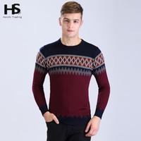 homens argyle suéteres venda por atacado-Atacado-2016 New Arrival Moda Sweater Mens O-Neck Pull Homme Casual Argyle Camisa Vestido De Lã Cashmere Pullover Men Marca Roupas 6605