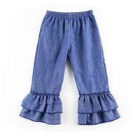 Wholesale Ruffle Leg Baby Pants - 2018 fall spring toddler ruffle leggings tights denim color solid pants kid cotton pant infant trousers baby boutique clothing girls legging