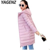 Wholesale ladies down coat medium - Wholesale- Winter women Jacket Coats 2018 Fashion Slim Medium long Down cotton Hooded Overcoat Thick Warm Jacket Student Coat Lady Clothing