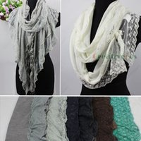 Wholesale Knitting Ruffle Scarves - Wholesale-New Elegant Stylish Delicate Embroidery Floral Lace Ruffle Trim With Knitted Warm Long Scarf Shawl Wrap