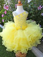 Wholesale Dress Sleeveless Asymmetric - Cute Asymmetric neckline Yellow Organza Toddler Flower Girl Dresses for Pageant Wedding Party Beaded Tiers Gowns