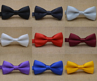 Wholesale Hotels Business - Fashion candy color dress folded Children Bow tie business Bow tie hotel waiter Bow tie gentleman Ties solid color tie Children bow tie