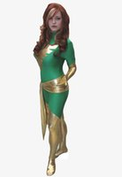 traje x phoenix hombres al por mayor-Green X-men Dark Phoenix Spandex traje de superhéroe fiesta de Halloween Cosplay Zentai Suit