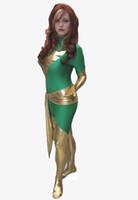 trajes de homem verde venda por atacado-Verde X-men Dark Phoenix Spandex Superhero Traje Do Partido Do Dia Das Bruxas Cosplay Terno Zentai
