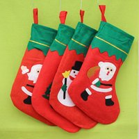 Wholesale Ornament Hangers - 2016 Christmas Socks Xmas Gift Stocking Holder Hangers Decorations Home Party Hanging Ornaments Xmas Tree Pattern free shipping A-0259